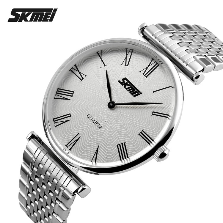 Luxury siliver electronic plated stainless steel watch with 5ATM waterproof function