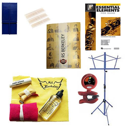 Bass Clarinet Players Super Pack - Essential Accessory Pack for the Clarinet: Includes: Bass Clarinet Care & Cleaning Kit, Clarinet Reed Pack w/Reed Holder, Music Stand, Band Folder, Essential Elements 2000 Band Book, & Tuner & Metronome