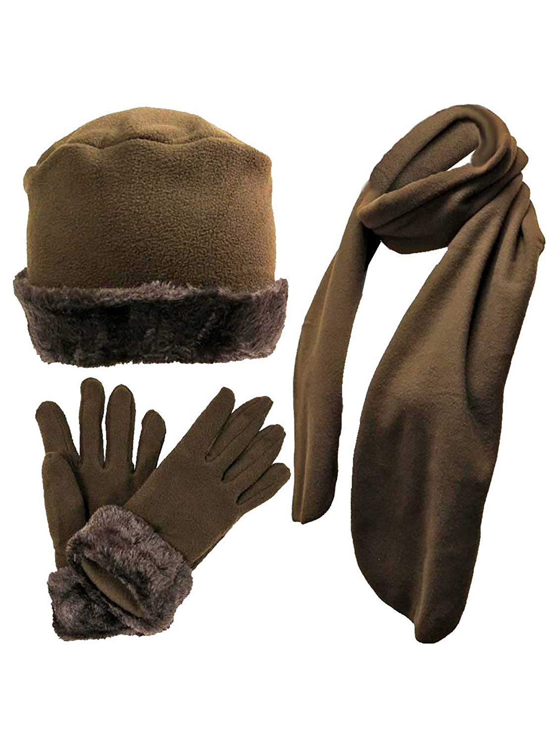 cfcbb35da3a Brown Faux Fur Trim Fleece 3 Piece Hat Scarf   Glove Set