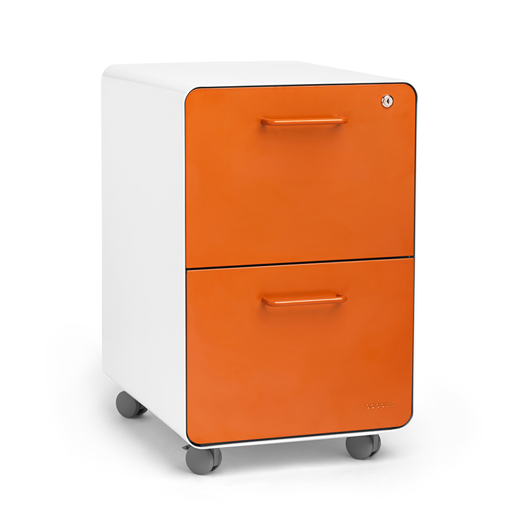 Movable Metal Drawer Cabinet Office Designs Black Two-drawer ...