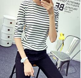 Осень корейский женщины полоска Pirnt T рубашка топы свободного покроя приталенный стиль полный рукав дна рубашка пуловеры M-XXL