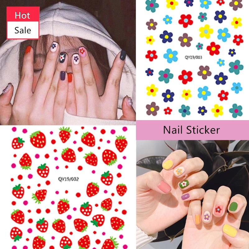 Großhandel Nette Pochiert Ei Erdbeere Blume Kinder Nagel Aufkleber 3d Aufkleber Nagel