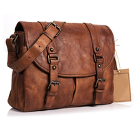 Retro Style Genuine Leather Shoulder Bag Satchel Bag Briefcase Men Messenger Bag for 13.3 Inch Laptop