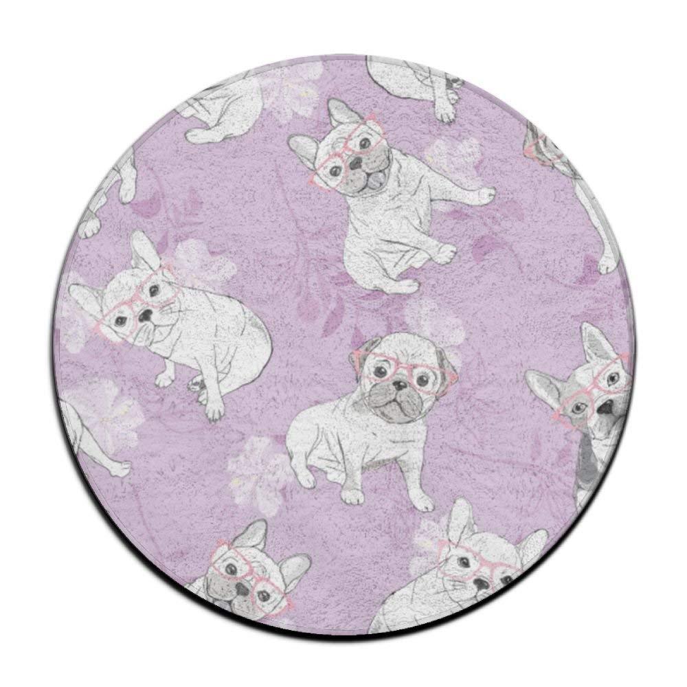 XTingIy Funny Cute Rabbit Rose Home Life Flannel Non-Slip BathroomRound\r\n Rug Mats Anti-Mites