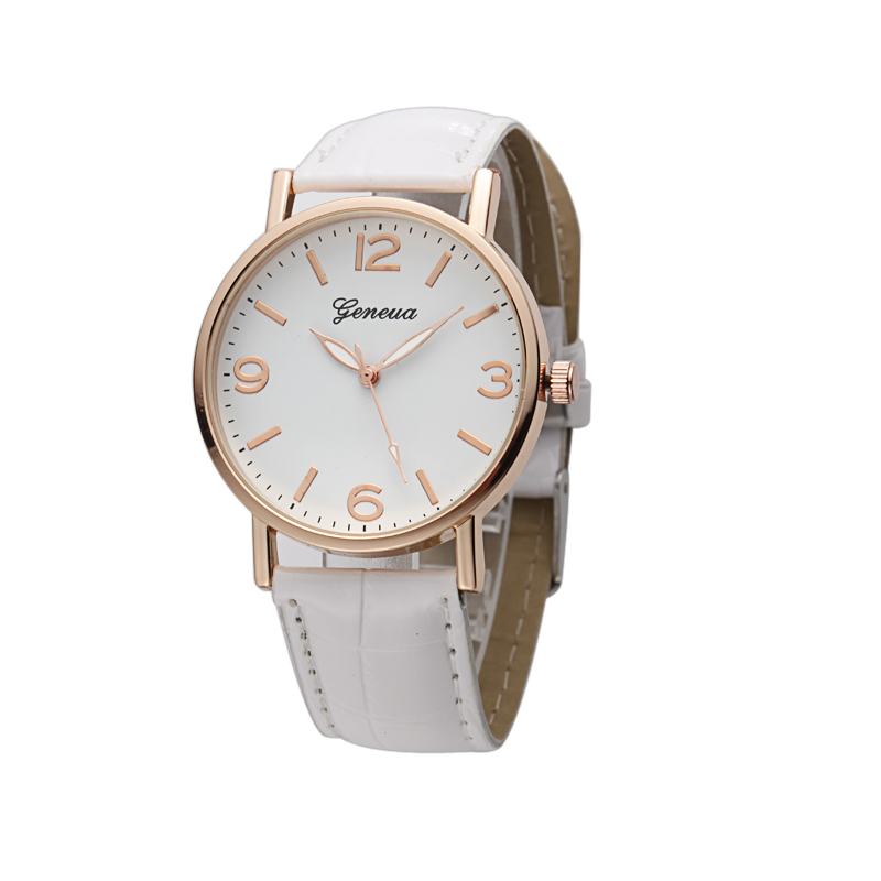 Top Selling Newest Leather PU Band Three Colors Stock Geneva Rose Gold Watch