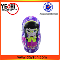 2015 New developing metal doll shaped gift tin boxes exporting