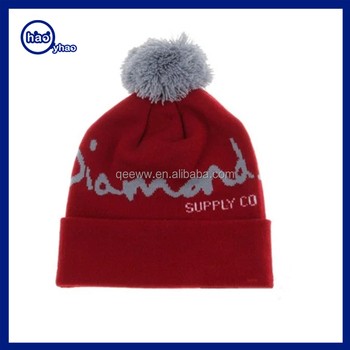 Yhao Factory custom embroidered knitted wool beanie winter hat with pompom  wholesale
