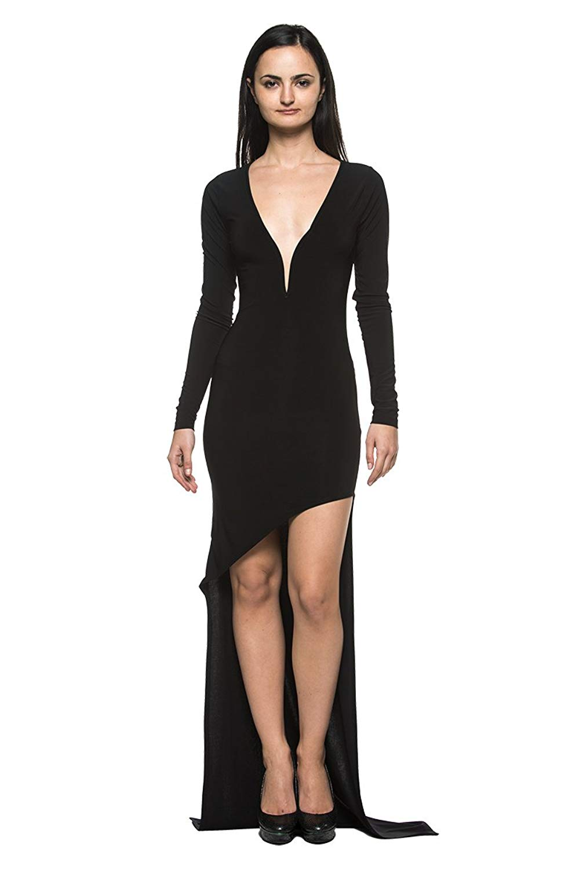 e281ae7576 Get Quotations · Women s Low-Cut Plunge Neck Ballroom Dance Evening Gown  Long Asymmetric Dress