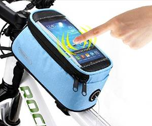 """Roswheel® Waterproof 4.2"""" 4.8"""" 5.5"""" Bike Bicycle Cycling Frame Pannier Front Tube Bag Saddle Bag Touchscreen Cell Phone Case Bag Phone Holder GPS Bag with Headphone Jack Reflective Strips for Safe Night Riding Suitable for iPhone Samsung HTC Nokia and other Smartphones (Blue, M(4.8 inch))"""