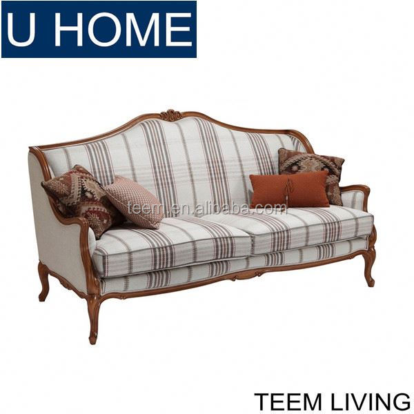 Queen Anne Sofa Set French Furniture Living Room Leather Sectional Solid Wood Frame