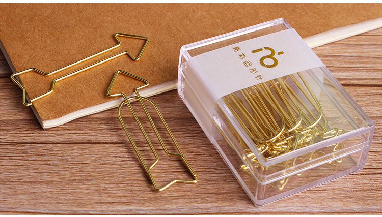 Fashion gold arrows shape metal paper clip