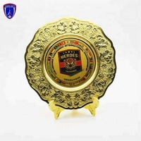 Most popular gold award plate metal trophy with metal plaque and support shelf