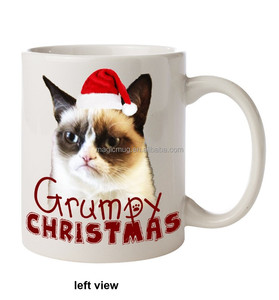 Promotional Porcelain Mug Customized Printing Funny Grumpy Cat Christmas Coffee Mug