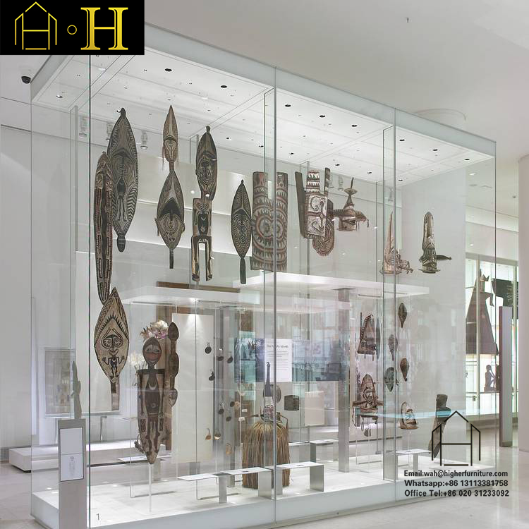 tempered glass museum display showcase for museum