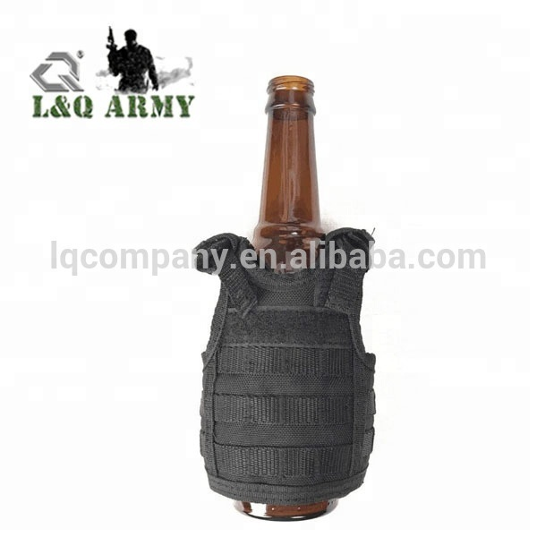 Independent Tactical Beer Military Molle Vest Mini Miniature Wine Bottle Cover Vest Beverage Cooler Adjustable Shoulder Straps Hiking Vests