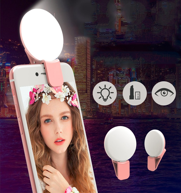 Clip on Led Selfie Ring Light Rechargable Battery Protable Photo Lamp Flash Smartphone With USB
