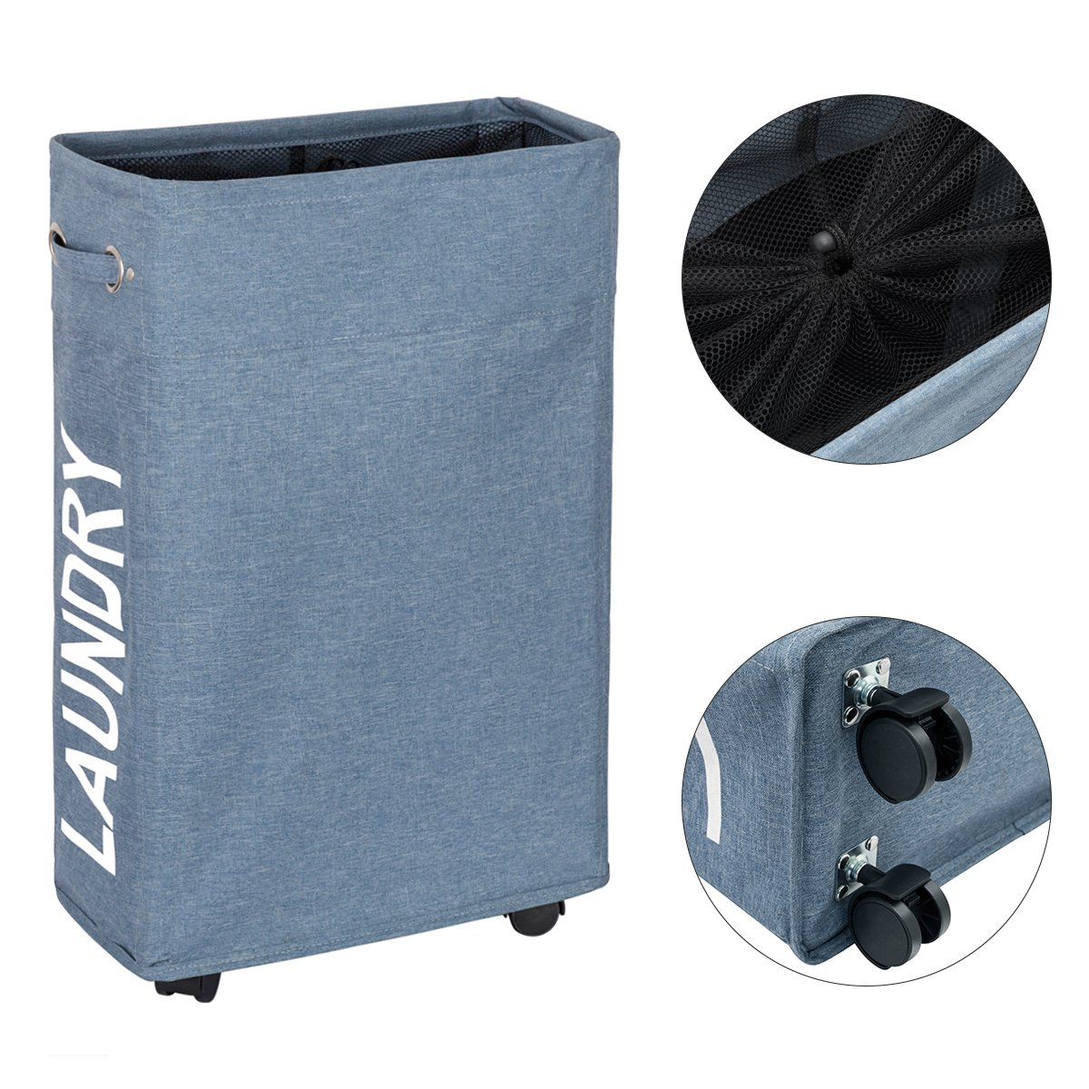 WISHPOOL Slim Rolling Laundry Hamper with Wheels Narrow Laundry Basket Dirty for