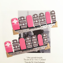 Pink England Style Nail Arts Sticker 14 pcs set Waterproof Nail Decal Art Sticker Gel Polish