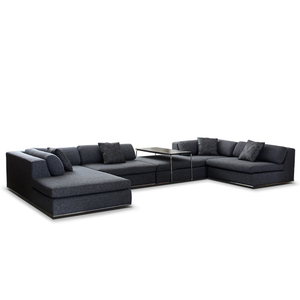 Modern Design Sectional Sofa L Shape Couch with Wide Chaise and Side Table
