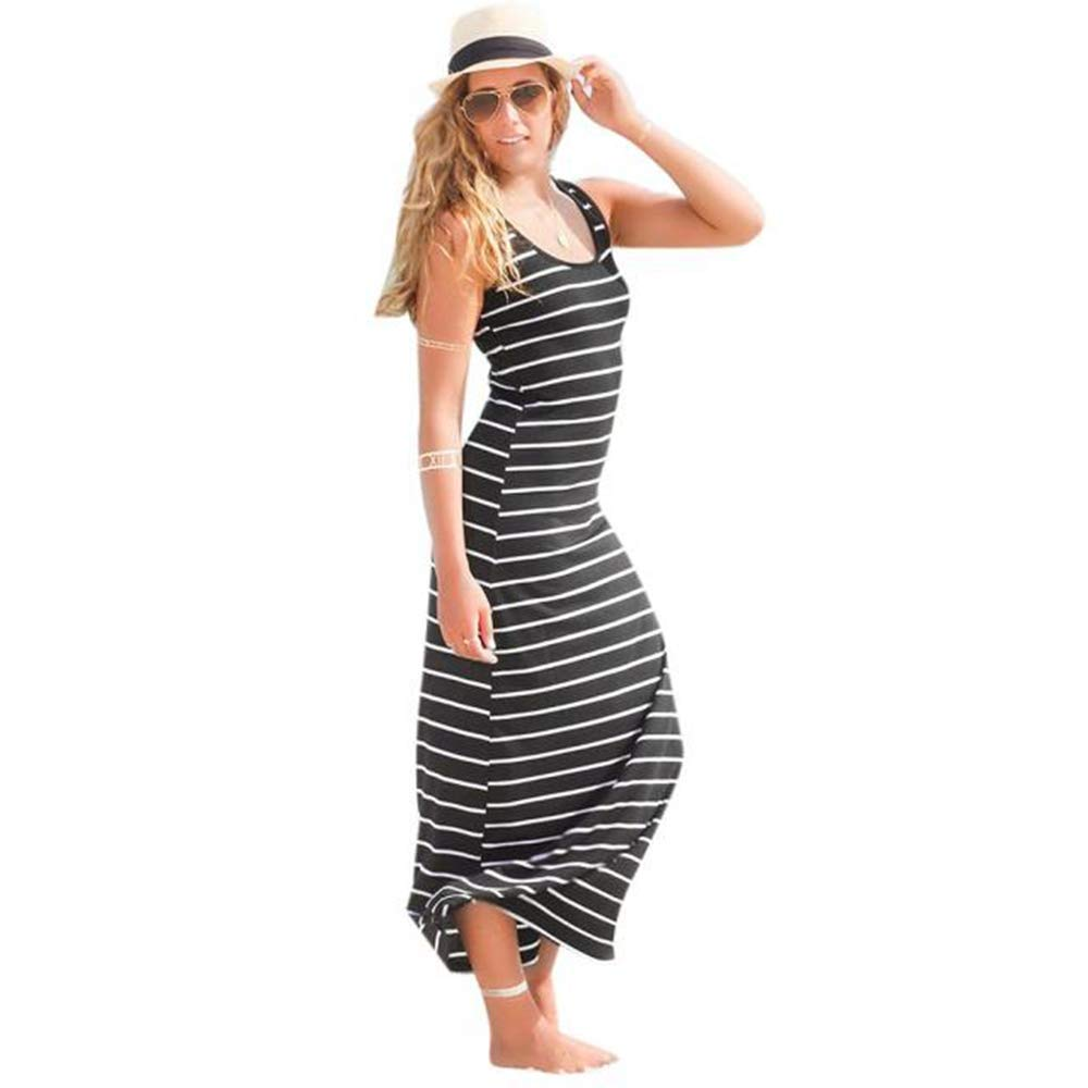 d5e720403f3 Get Quotations · Wugeshangmao Dress Women s Dresses Short Sleeve Casual  Loose Summer Beach Sleeveless Striped Long Dresses for Ladies