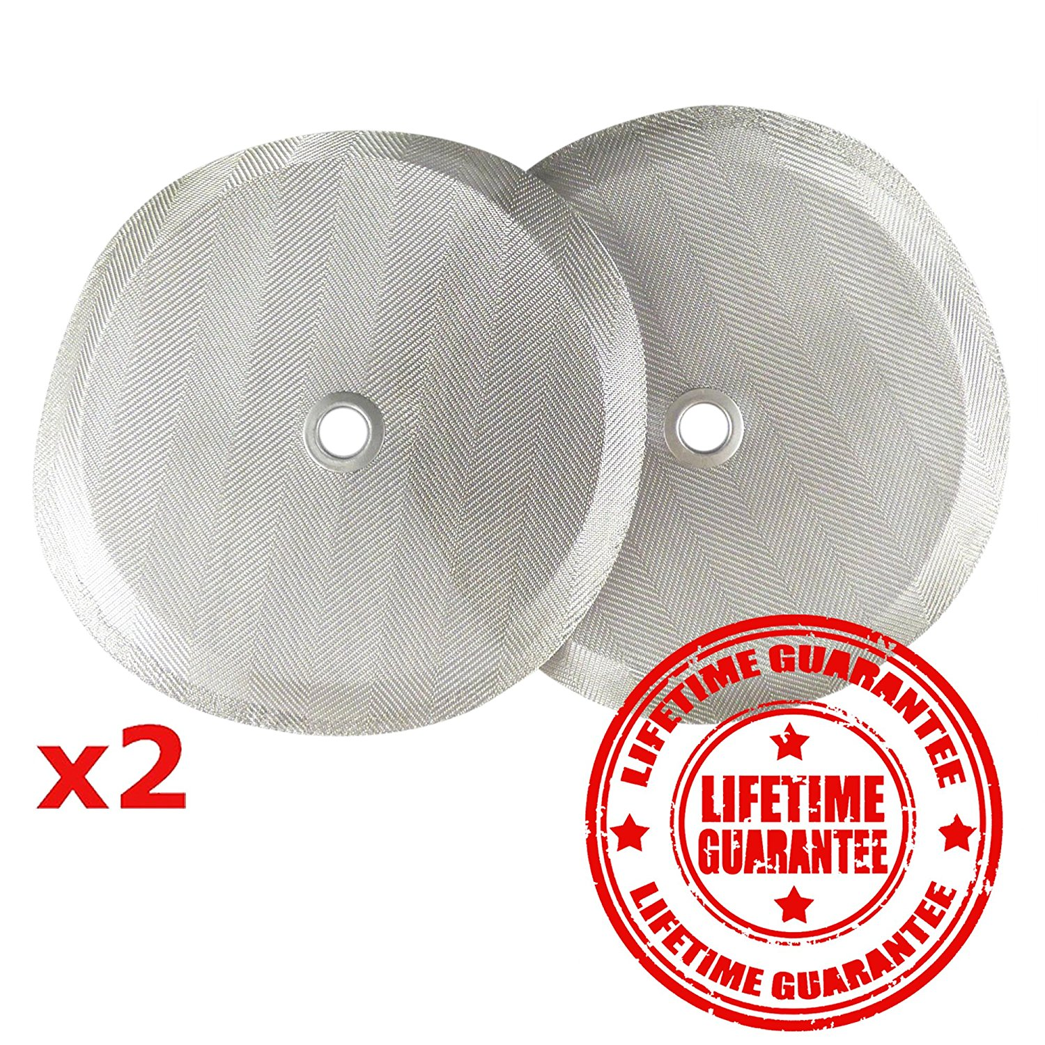 "French Press Filters by Slimm Filter: 2 Premium 4"" Reusable Stainless Steel Metal Filters for Bodum French Press Coffee Makers - Plus Bonus Coffee Tips and Recipe eBook"