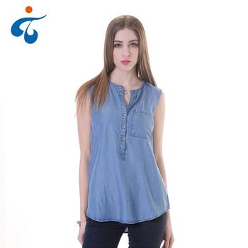 79738d0c8 Anti-arrugas verano liso teñido de denim lyocell blusa sin mangas para las  mujeres