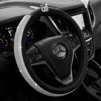 FX-Z-033 Cheap black and gold  girly diamond steering wheel covers