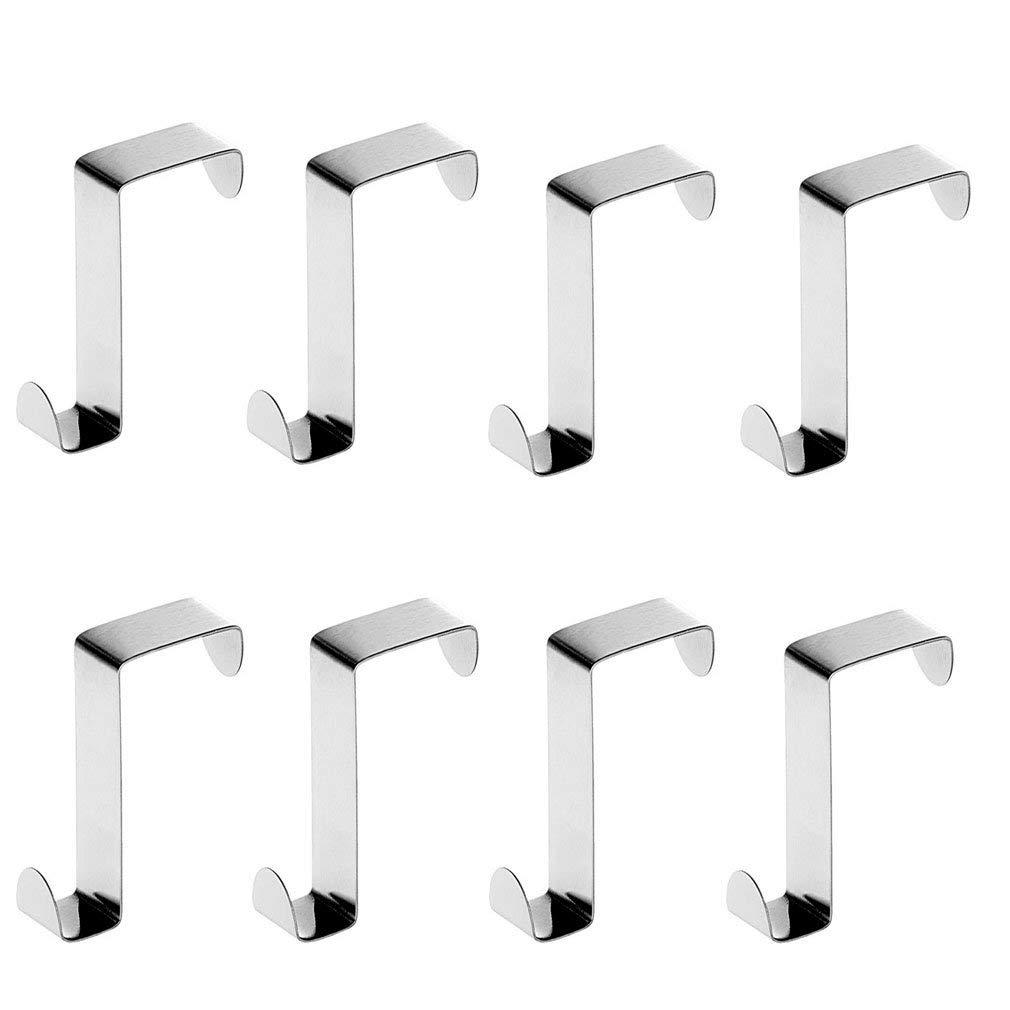 8pcs Stainless Steel Door Hooks,Reversible Over Door Cabinet Drawer Hooks, Office Kitchen Towel Coat Hooks Rack- Office Cubicle Purse Hanger - Door Back Type Cabinet Hanger-Silver