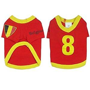 BuW Belgium Soccer Jersey 100% Cotton for Pet Dog and Cats (M Size) puppy clothes dog coats and sweaters fashionable dog clothes