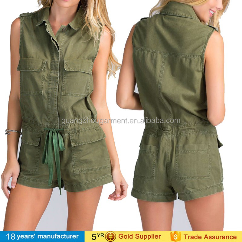 2014 New Arrival Open Botton Front Short Military Army Sexy