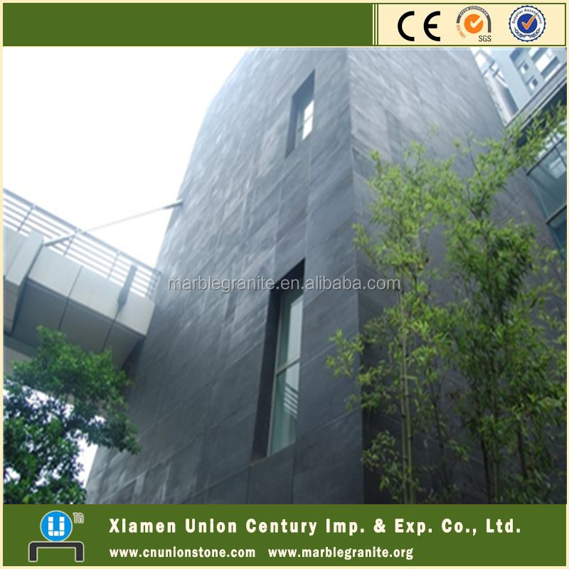 Honed Black Slate Exterior Wall Cladding Tile