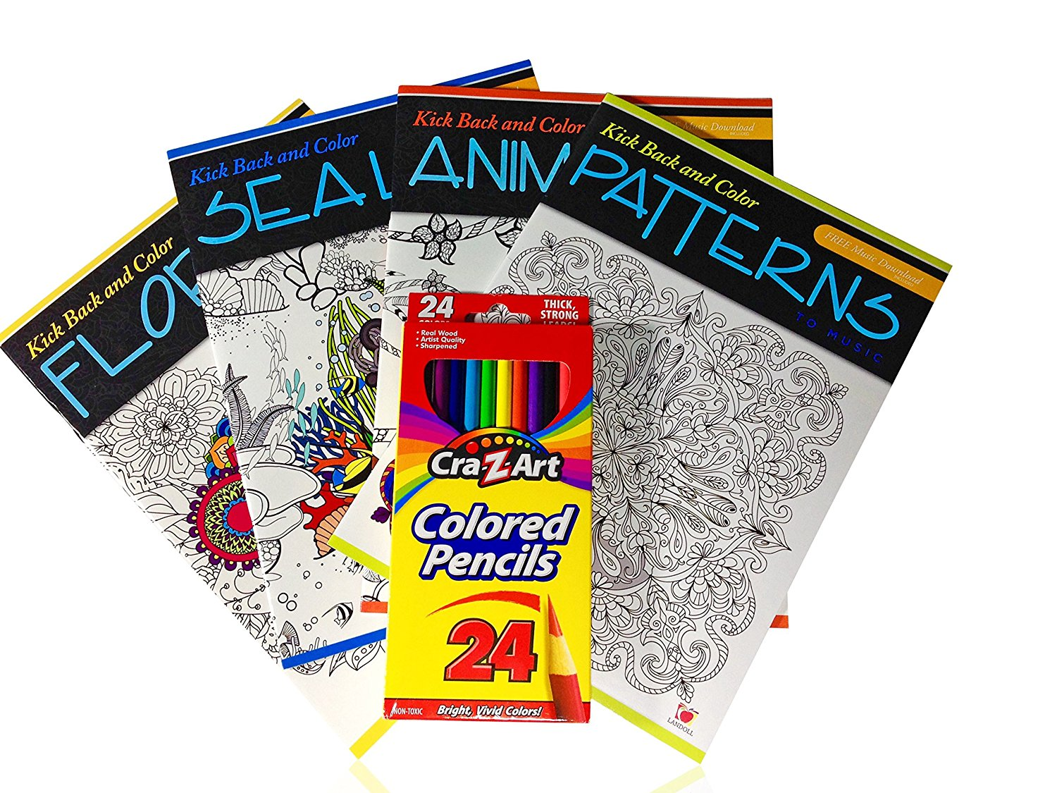 Color to Music: Adult Coloring Book Gift Set with Colored Pencils, Sharpener, and Music Downloads [6 Piece Bundle]