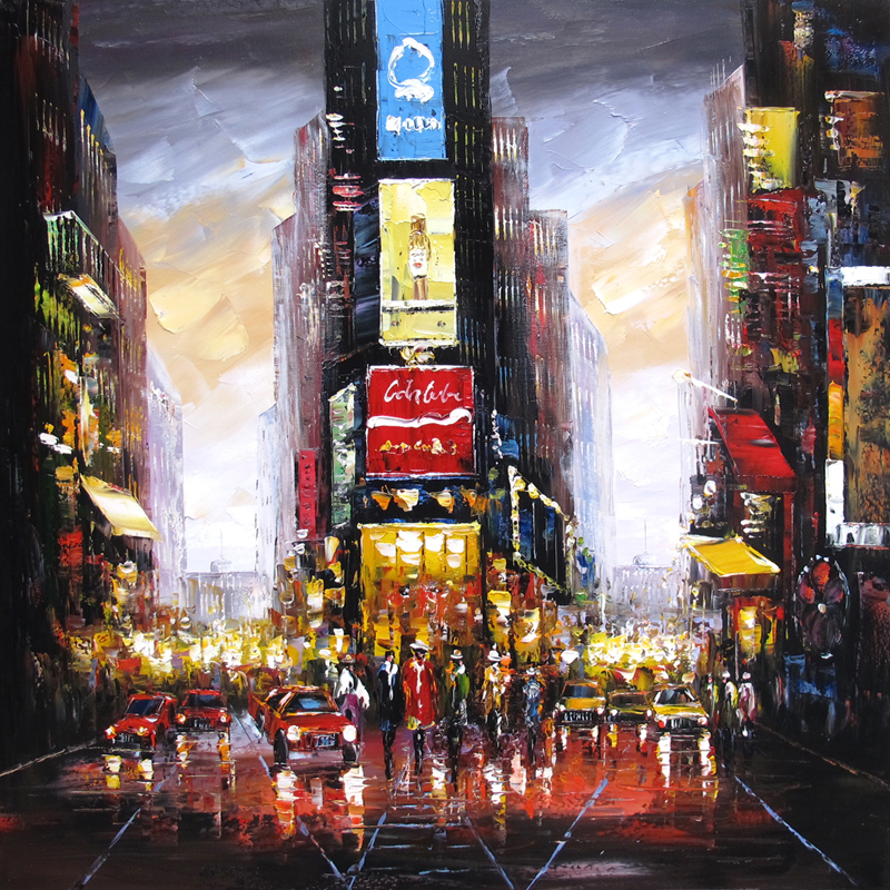 100 Hand Drawn City At Night 3 Knife Painting Modern: New York Painting