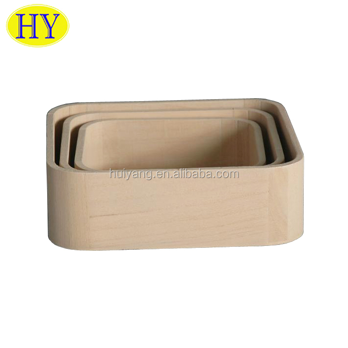 Custom round corner rectangular wood box made in China for sale