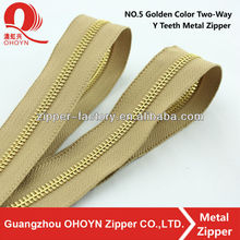 high quality NO.5 golden color aramid big diving suit 2 way Y teeth metal zipper