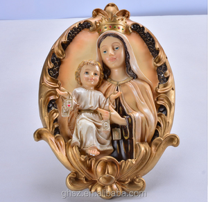 Family religious exquisite decoration resin Maria and baby Jesus sculpture
