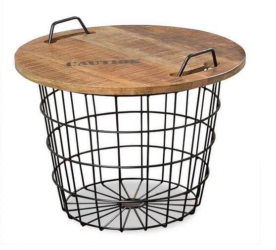 Iron Wire Base Coffee Table Round Metal Wire Side Coffee