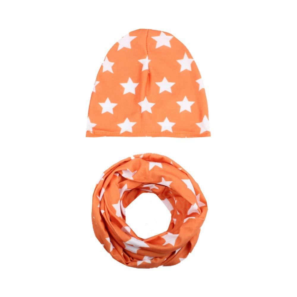 Jshuang Elasticity Winter Baby Hat Girl Boy Cap Children Hats Toddler Kids Hat Scarf Collars, Autumn Baby, Cap, Five-Pointed Star, Children's Hat, Bib Suit,3M~6 Years Old (F)