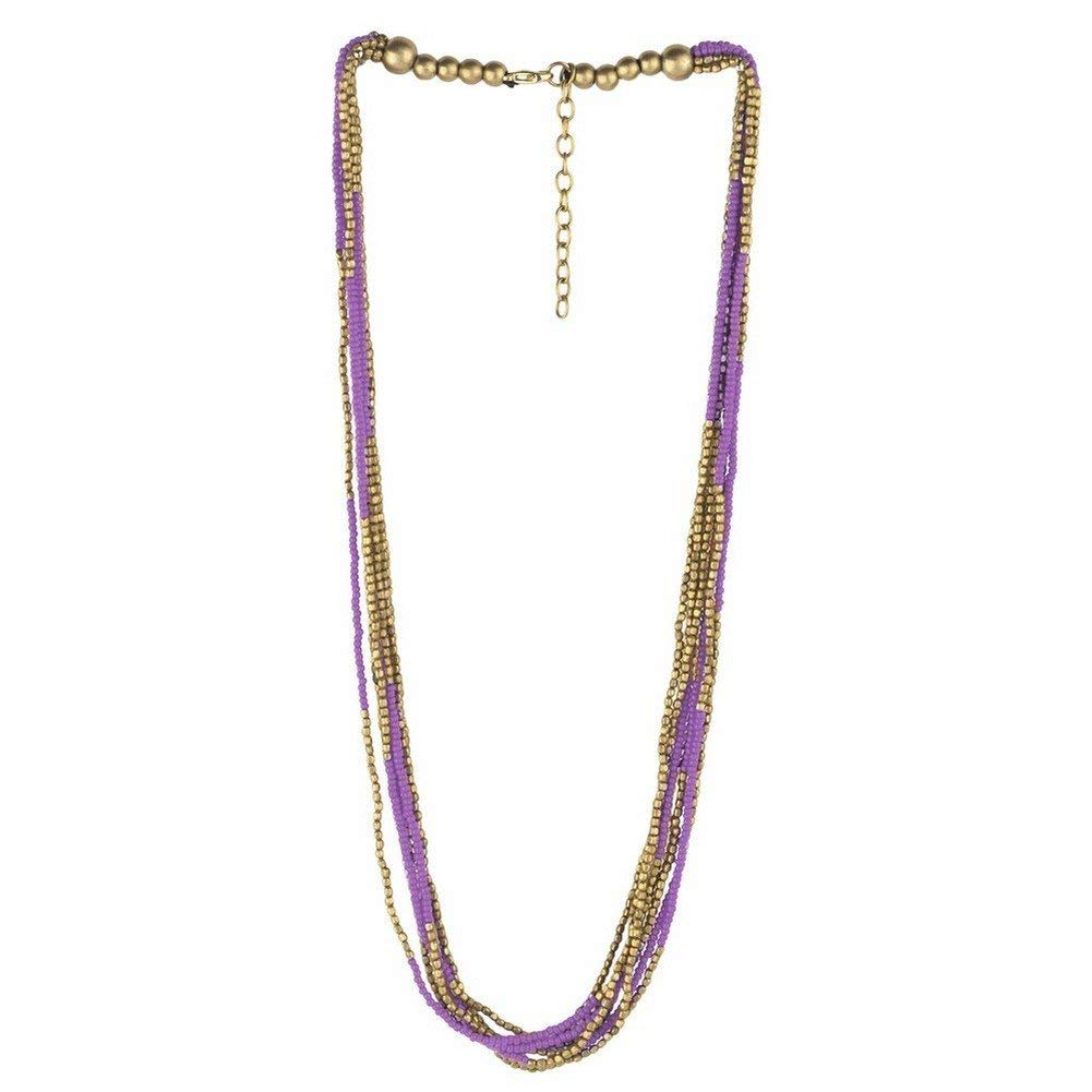 Joe Cool Bead String Necklace Bead 10 Multi-strand Gold With Colour (Purple) Made With Glass by
