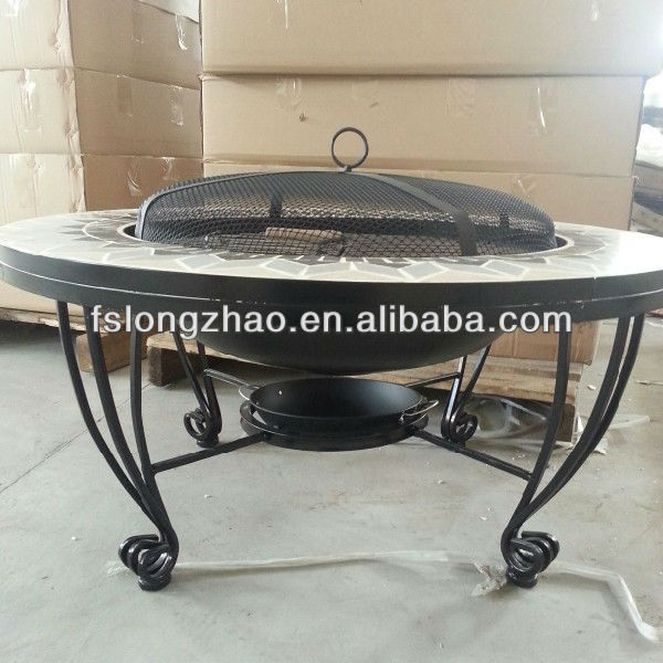 Out door mosaic top iron cast barbeque fire pit table