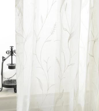 Bathroom Window Curtain Embroidery Sheer Fabric Transpa