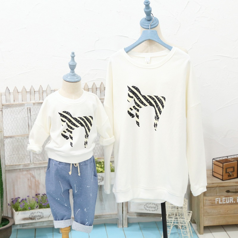 Family Clothing Casual Family Set Zebra Sweatshirt Clothes for Mother and Daughter Kids Cartoon Clothes Family Clothing, NS09