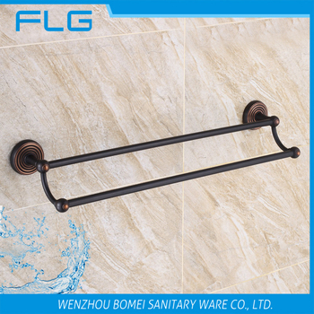 Household Hotel Bathroom Accessories Wall Mounted ORB Brass Towel Bar BM6327B Double Towel Bar Oil Rubbed Bronze