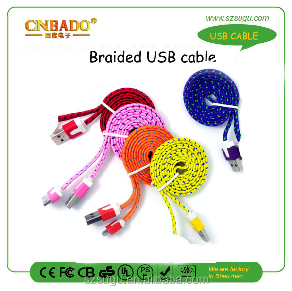 2015 hottest colorful braided colored micro usb to vga audio mhl adapter cable