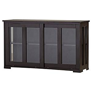 Sideboard with Glass Panels, Traditional Design, Stackable Storage Unit and Sliding Doors, Kitchen and Dining Furniture