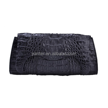 Custom Genuine Exotic Skin Luxury Crocodile Leather Women Handmade Clutch Purse Party Handbag