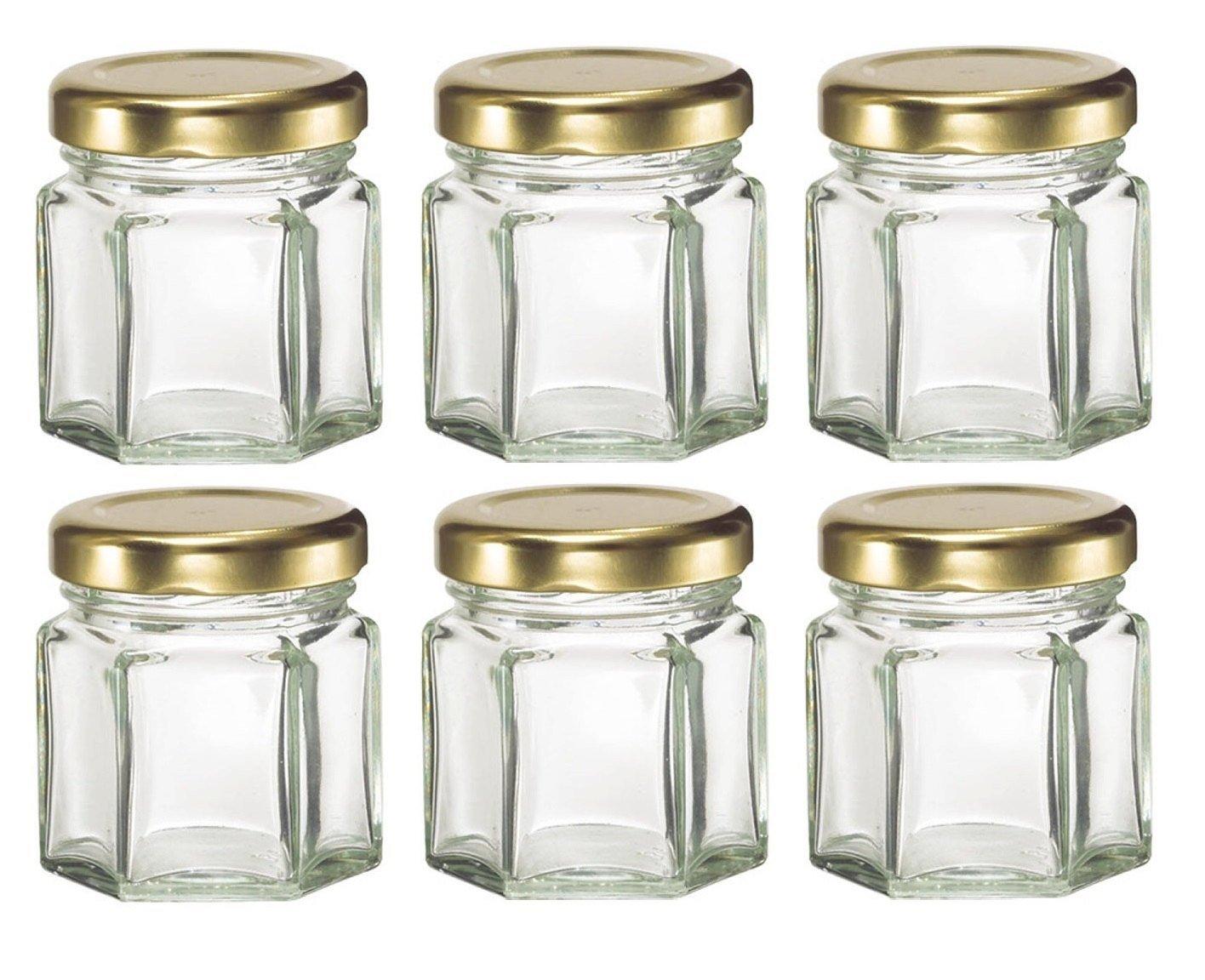 Buy 6, 1.5 oz Mini Oval Hexagon Glass Jars for Jam, Honey, Wedding ...
