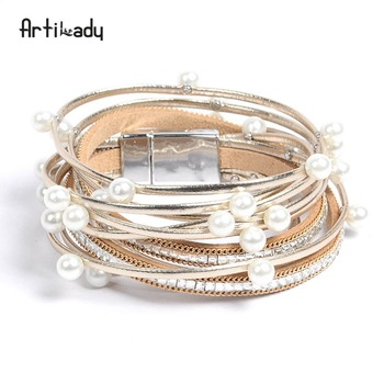 Artilady women jewelry christmas gift winter leather wrap bangle charm bracelet with simulated pearl 2 layer