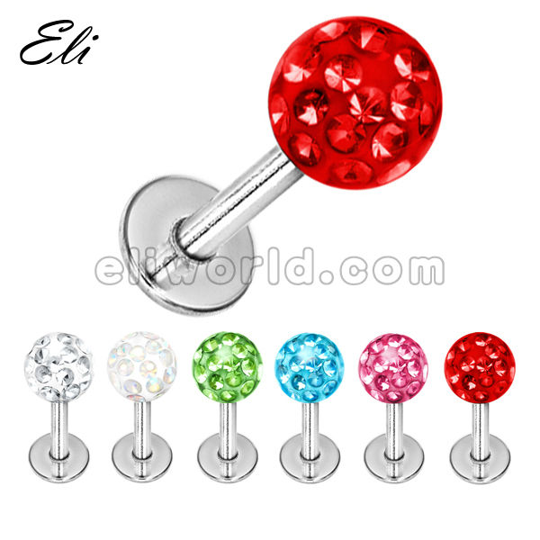 316L Surgical Steel Lip Piercing Jewelry Labret Monroe with 4mm Transparent Multi Crystal Ball