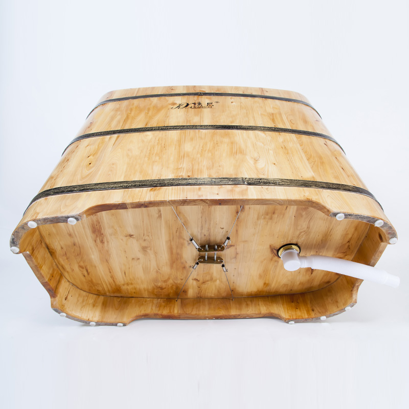 Wooden Barrel Portable Bathtub With Seat Japanese Bathtub